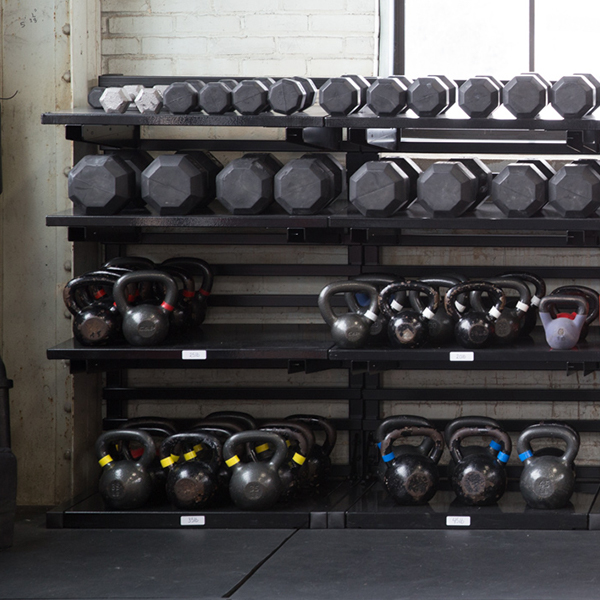 Crossfit heavy duty weight shelving